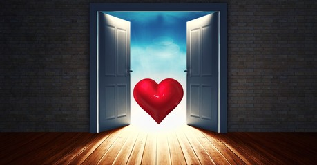 Open door to sky with red heart shape