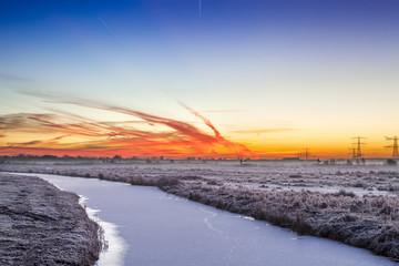Colorful dawn over a winter landscape