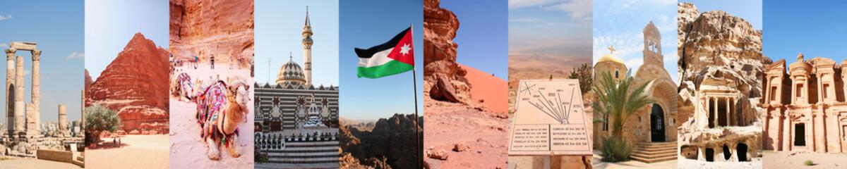 collage di foto della Giordania