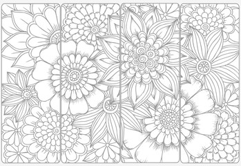 Vector set of monochrome bookmarks and doodle flowers for coloring