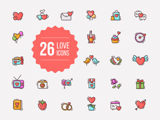 Valentine love colorful outline icons