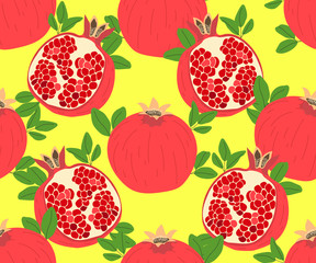 Modern stylish hand drawn summer background for textile with structure of repeating pomegranates. Vector seamless pattern.