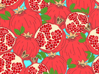 Vector seamless pattern. Modern stylish hand drawn fruit background for textile with repeating structure of pomegranates.