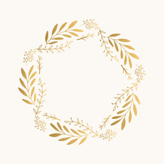 Gold floral round frame. Vector. Isolated