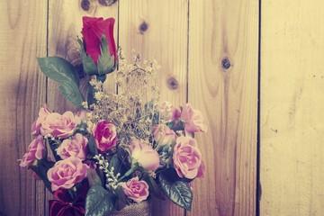 Background of Valentine day with Rose flower, vintage filter image