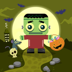 Halloween background Little Frankenstein