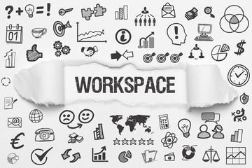 Workspace / weißes Papier mit Symbole