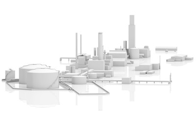 Abstract 3d modern industrial facility