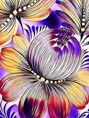 Piękny kolorowy obrazu kwiat z liśćmi. Tradycyjne malarstwo ukraińskie na płótnie tekstury. Artystyczne tło do dekoracji i druku