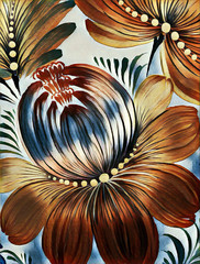 Beautiful colorful painting flower with leaves. Traditional Ukrainian painting on canvas texture. Artistic background for decoration and print