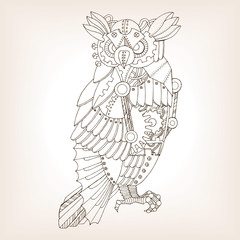 Ancient draft of mechanical owl vector