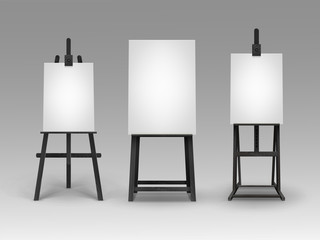 Vector Set of Black Wooden Easels with Mock Up Empty Blank Vertical Canvases on Background