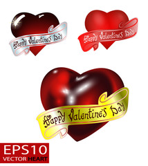 Happy Valentine's day. Hand Drawing Vector Lettering design. The inscription on the ribbon.  Set of Realistic 3D Valentine hearts vector. Red convex glass heart isolated on white background.