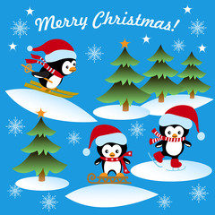 Christmas card with the penguins ice-skating, sledding, skiing, winter background, greeting text