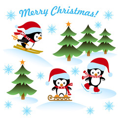 Christmas card with the penguins ice-skating, sledding, skiing, winter background, greeting text.