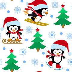 Seamless pattern with Christmas penguins, fur-tree and snowflakes on a white background