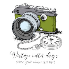 Hand drawn vintage postcard. Camera with pocket watch on a chainon. Vector illustration
