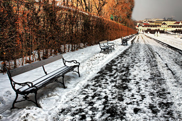 Snow-covered benches 3