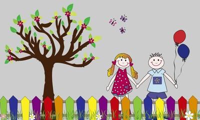 Niños felices con globos y árbol.