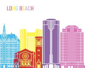 Fototapete - Long Beach_V2 skyline pop