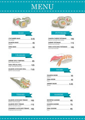 Menu Sushi Bar - vector illustration
