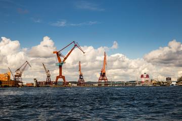 Port with Cranes in Gothenburg, Sweden