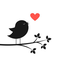 Silhouette of cute bird and red heart