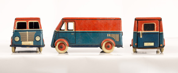 Toy truck; side, front and rear view.