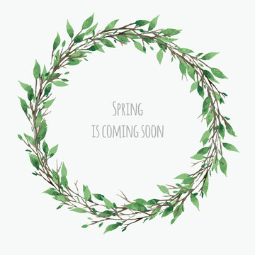 cute spring wreath with green leaves, vector watercolor floral illustration, spring design
