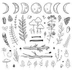 Mystic set of shamanic and occult objects. Vector natural doodles isolated on white.