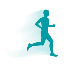 Vector runner and marathon line silhouette symbol