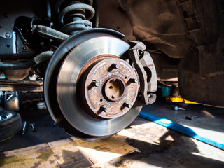 Closeup disc brake of the vehicle for repair.