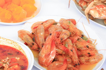shrimp close up on plate  and food many in home party