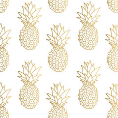 Gold pineapple background. Vector illustration.