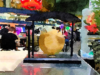 Digital watercolor painting of a Japanese gong. With space for text on the gold gong.
