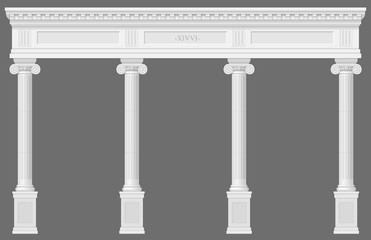 Antique white colonnade with Ionic columns. Three arched entrance or niche. Vector graphics