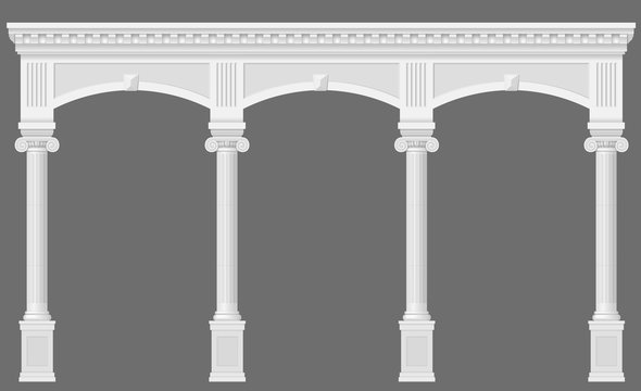 Antique white arcade with Ionic columns. Three arched entrance or niche. Vector graphics