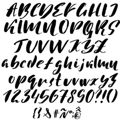 Hand drawn font made by dry brush strokes. Grunge style alphabet