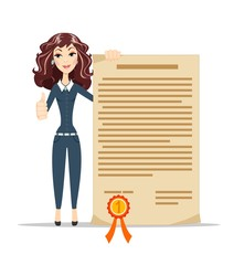 woman holding certificate and showing thumbs up
