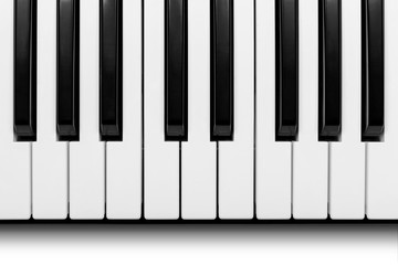 Ancient piano keyboard with clipping path