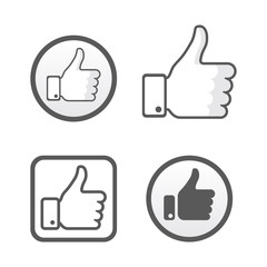 Thumb up, like icons vector set, social network