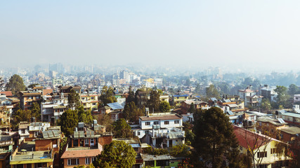View of Patan and Kathmandu by a misty morning, in Nepal