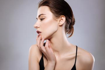 Elegant model showing off her face