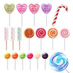 Big lollipops set vector illustration.