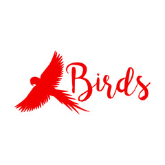 Red logo design with flying eagle bird silhouette, isolated on white. Vector illustration