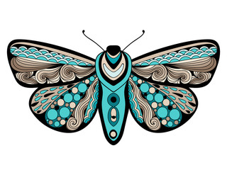 Doodle stylized colored zen art butterfly. Hand drawn vector illustration isolated on white background.
