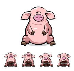 ute cartoon pigs set