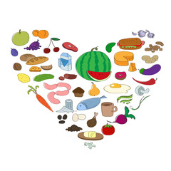 Hand drawn food collection in heart symbol. Fruit and vegetable icons.