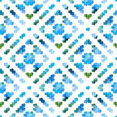 Geometric seamless chalk drawn pattern. Watercolor spots