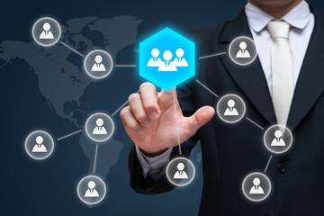 Businessman hand touch businessman icon network - HR,HRM,MLM, teamwork & leadership concept